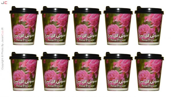 دمنوش لیوانی گل سرخ با درب ده تایی