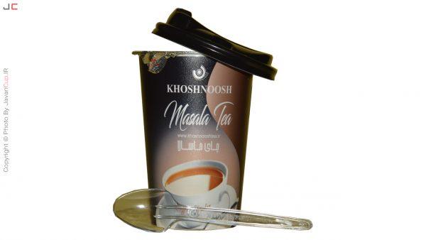 چای لیوانی ماسالا تک نفره درب نصفه قاشق جلو