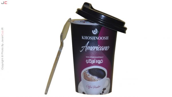 قهوه لیوانی امریکانو تک نفره درب نصفه قاشق بقل