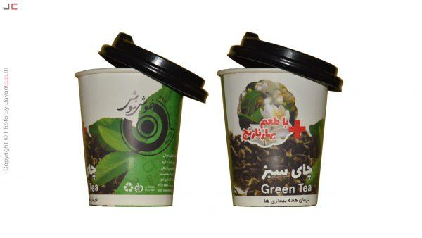 چای لیوانی سبز با طعم بهار نارنج درب نصفه دوتایی پشت