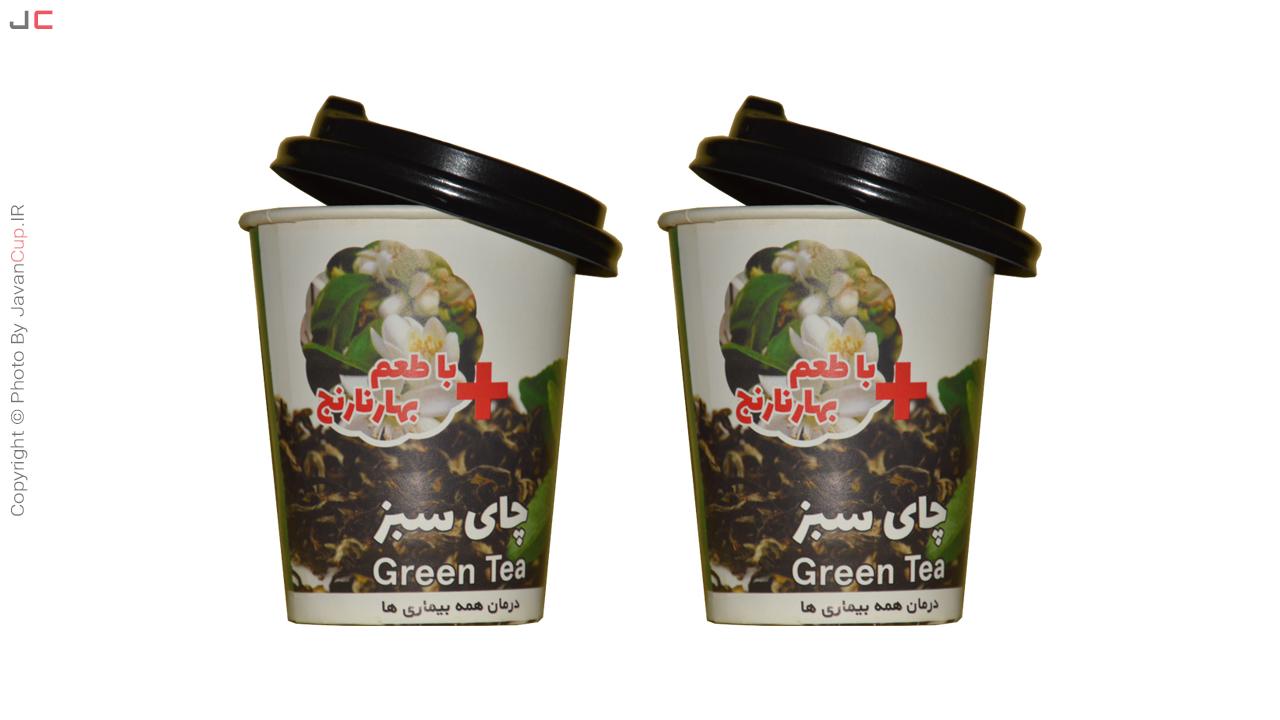 چای لیوانی سبز با طعم بهار نارنج درب نصفه دوتایی