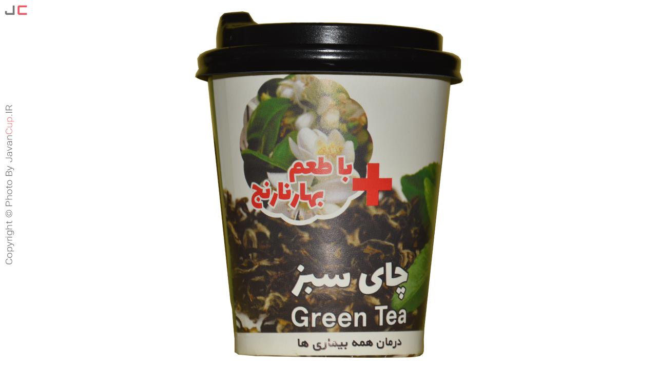 چای لیوانی سبز با طعم بهار نارنج درب