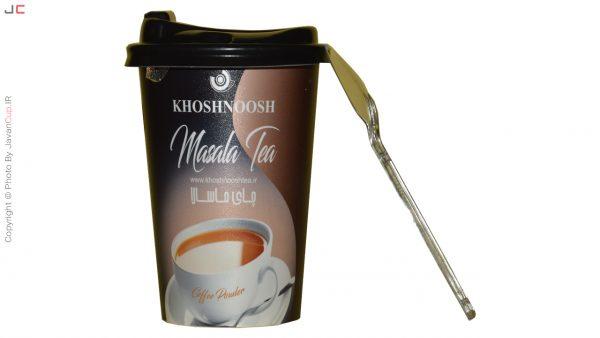 چای لیوانی ماسالا تک نفره درب دار با قاشق