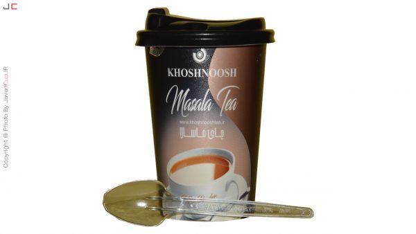 چای لیوانی ماسالا تک نفره درب دار قاشق جلو