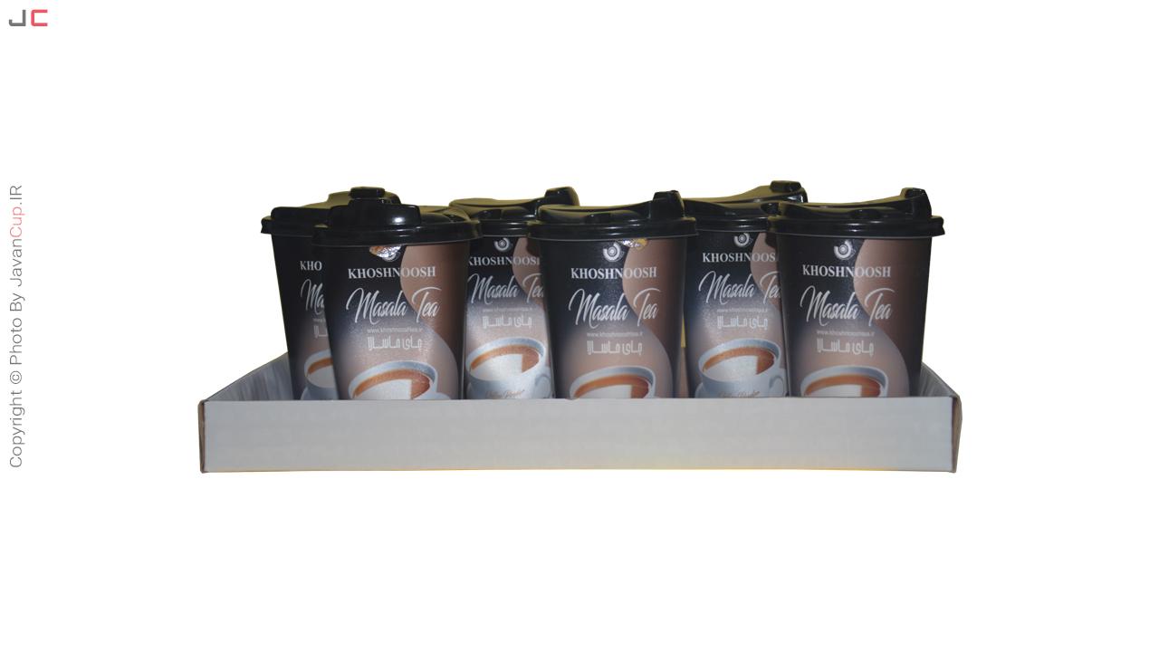 چای ماسالا لیوانی 6 تایی داخل سینی استاده
